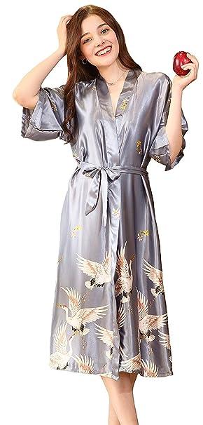 Bata De Lujo para Mujer Y Bata Casuales Mujeres Real Larga Kimono Bata De Satén Togas De Boda Suave Camisón Toga De Camisón: Amazon.es: Ropa y accesorios
