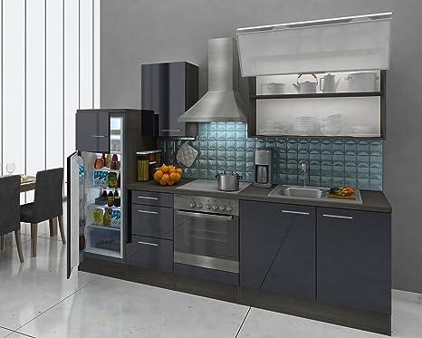 respekta Premium Cocina (280 cm Roble Gris HG Negro