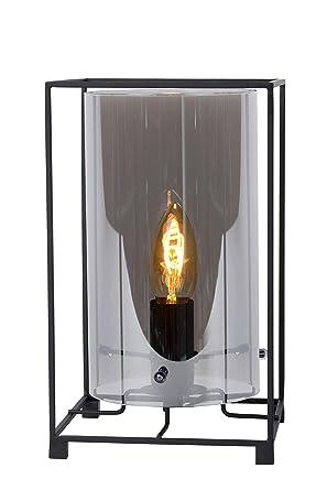 Lucide JULOT - Lámpara de mesa (cristal, 40 W), color negro ...