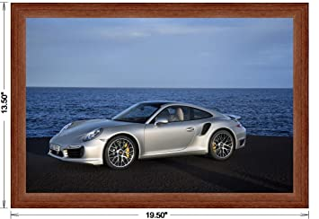 Porsche 911 (991) Turbo S (2013) Framed Car Art Poster Print Silver