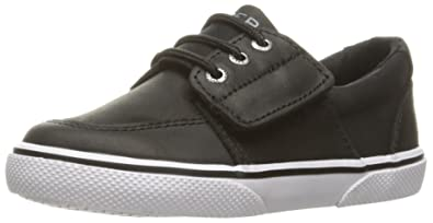 Sperry Ollie Alternative Closure Sneaker (Toddler/Little Kid), Black  Leather, 5