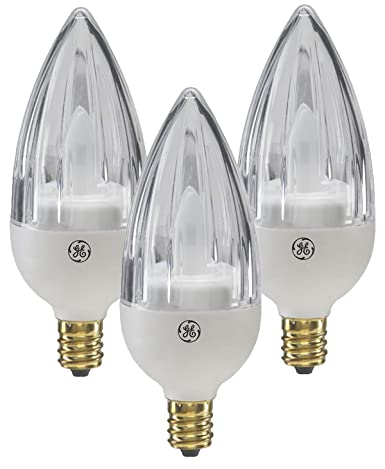 GE 65536 Energy Smart LED 2.4-Watt (15-watt replacement) Fluted Blunt Tip Candle Light Bulb with Candelabra Base (3 Pack) - - Amazon.com