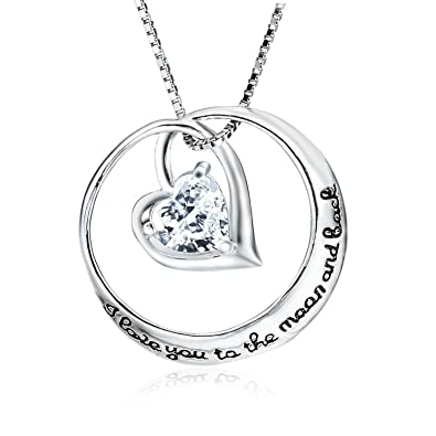 Elbontek Sterling Silver Heart Round I Love You To The Moon And