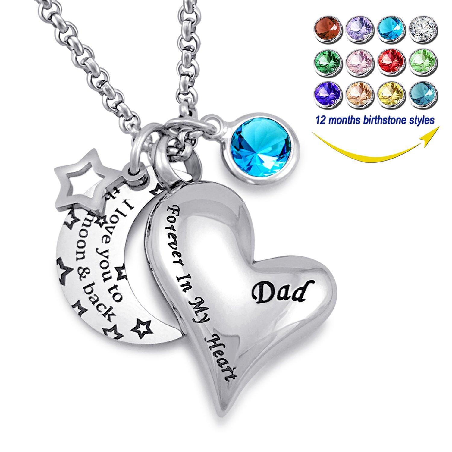 YOUFENG Urn Necklaces for Ashes I Love You to the Moon and Back for Dad Cremation Urn Locket Birthstone Jewelry (March urn necklace)