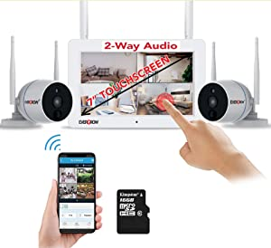 Wireless Home Security Camera Surveillance Systems Outdoor Indoor with 7inch Touch Screen, 2pcs Wireless Weatherproof 2 Way Audio Cameras (CAM-WIFI-SCREEN7-168)