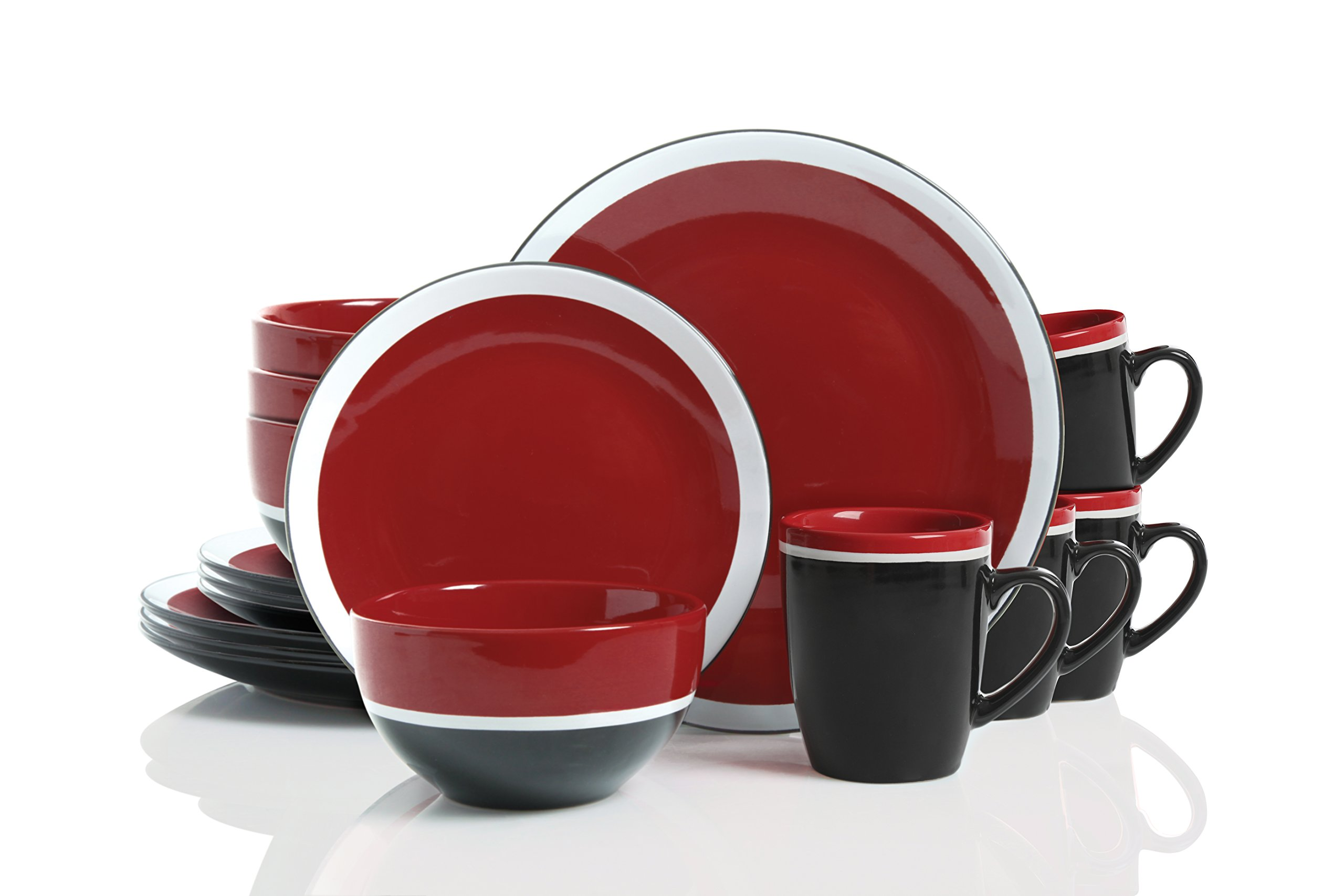 Gibson Studio 114390.16RM Color Eclipse 16 Piece Stoneware Dinnerware Set, Red