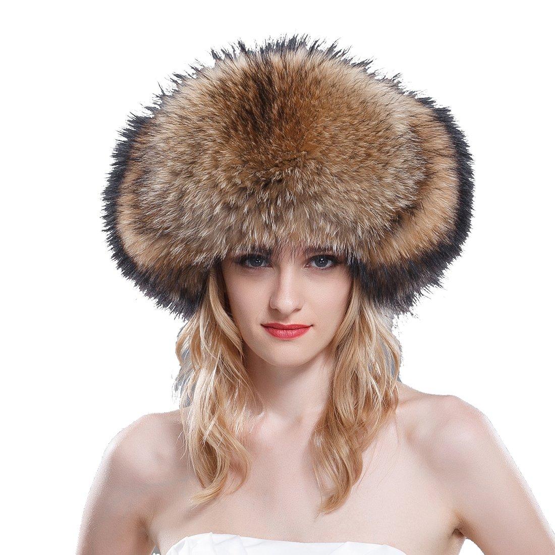 URSFUR Women's Raccoon Fur & Leather Russian Trapper Hats .Ltd. SD-F1356-1-1