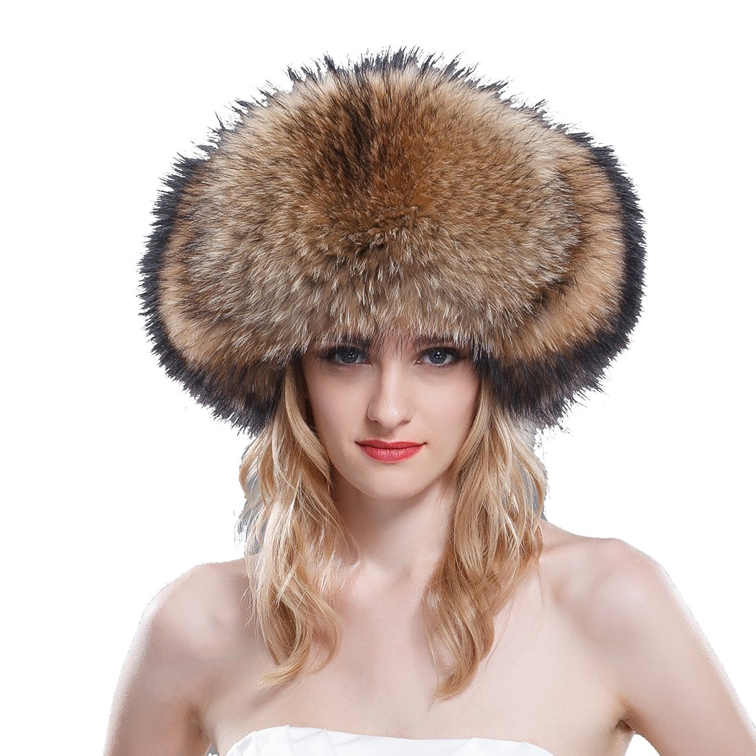 URSFUR Women's Raccoon Fur & Leather Russian Trapper Hats .Ltd. SD-F1356-1-1