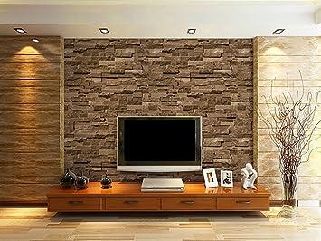 Vliestapete, WarmieHomy 3D Brick Tapete Fotorealistische Steintapete  Naturstein Wandtapete 10m X 0,53m Für