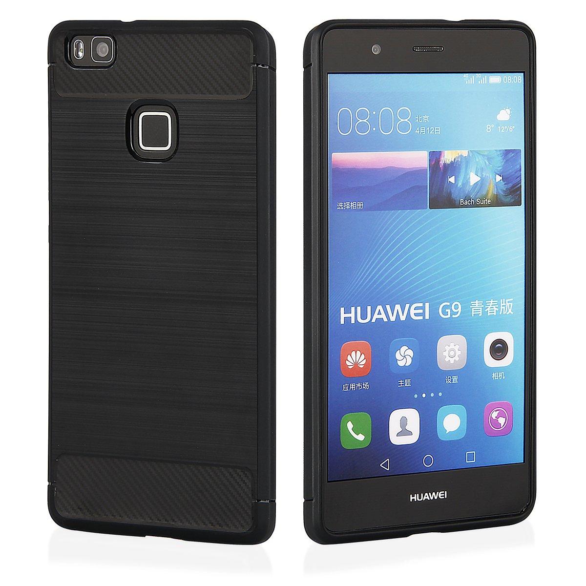 QULT para Huawei Y6 2017 Carbon Diseño Protector de Móvil TPU ...
