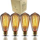 Bravelight エジソン電球 40W E26/ E27口金 ST64 4個入り ヴィンテージエジソンランプ タングステンフィラメント電球(クリア) アンティーク風 調光器対応 ホーム照明装飾用器具 電球付け替え