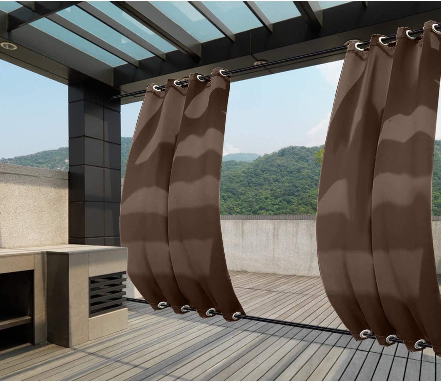 CHOiES record your inspired fashion Outdoor Waterproof Outdoor Curtain Panel for Patio Blackout Indoor//Outdoor Top and Bottom Grommet Curtain for Patio Porch Gazebo Garden Beige 1 Panel
