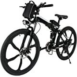 "Folding Electric Mountain Bike 36V 250W,Electric Bicycle with 26"" Super Lightweight Magnesium Alloy 6 Spokes Integrated Wheel, Large Capacity Lithium-Ion Battery"