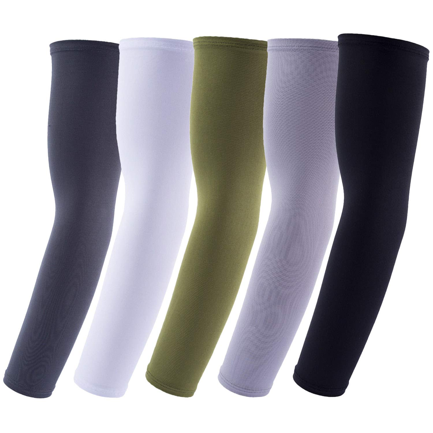 Xushop 5 Pair UV Protection Cooling Arm Sleeves for Outdoor Activities (Black/White/Dark gray/Light Gray/Green)
