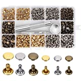 Leather Fasteners, Rivets Craft Leather Rivet Set Jean Rivets Double Cap Rivets with 3 Pieces Fixing Tool for Leather Grommets Handbag Hardware Rivets Replacement, 240 Sets 2 Sizes and 3 Colors