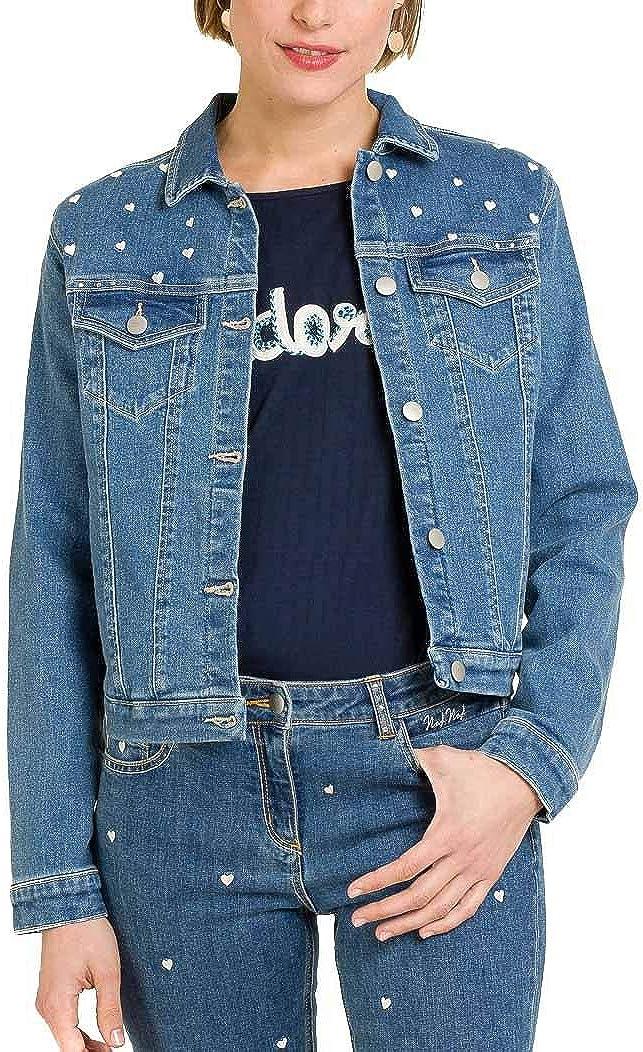 da Donna Naf Naf Giacca Jeans con Cuori