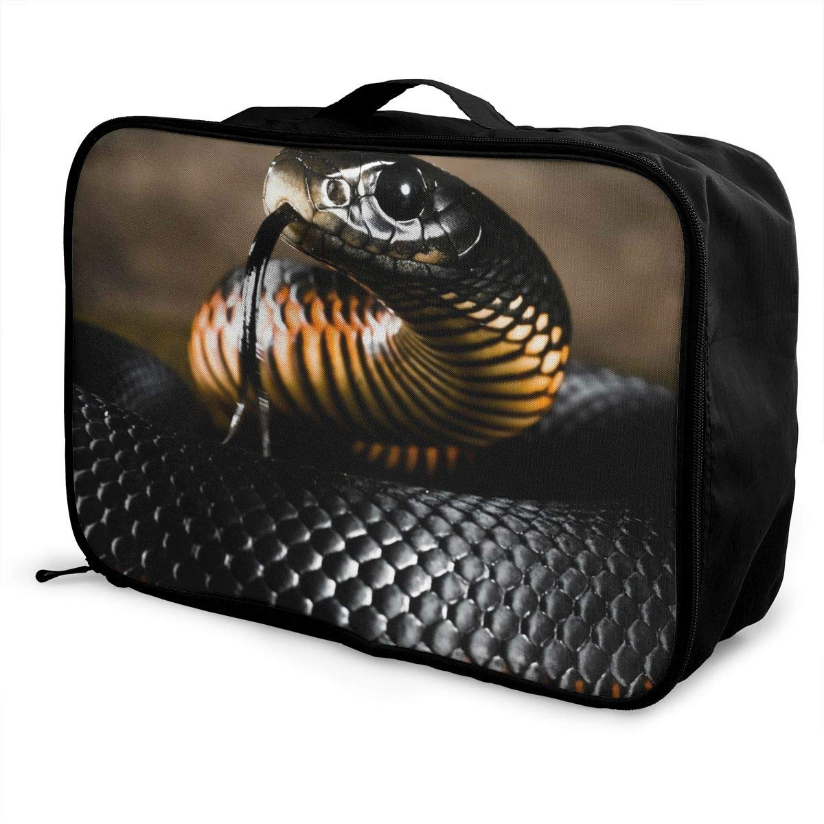 Travel Luggage Duffle Bag Lightweight Portable Handbag Animals Black Snake Print Large Capacity Waterproof Foldable Storage Tote