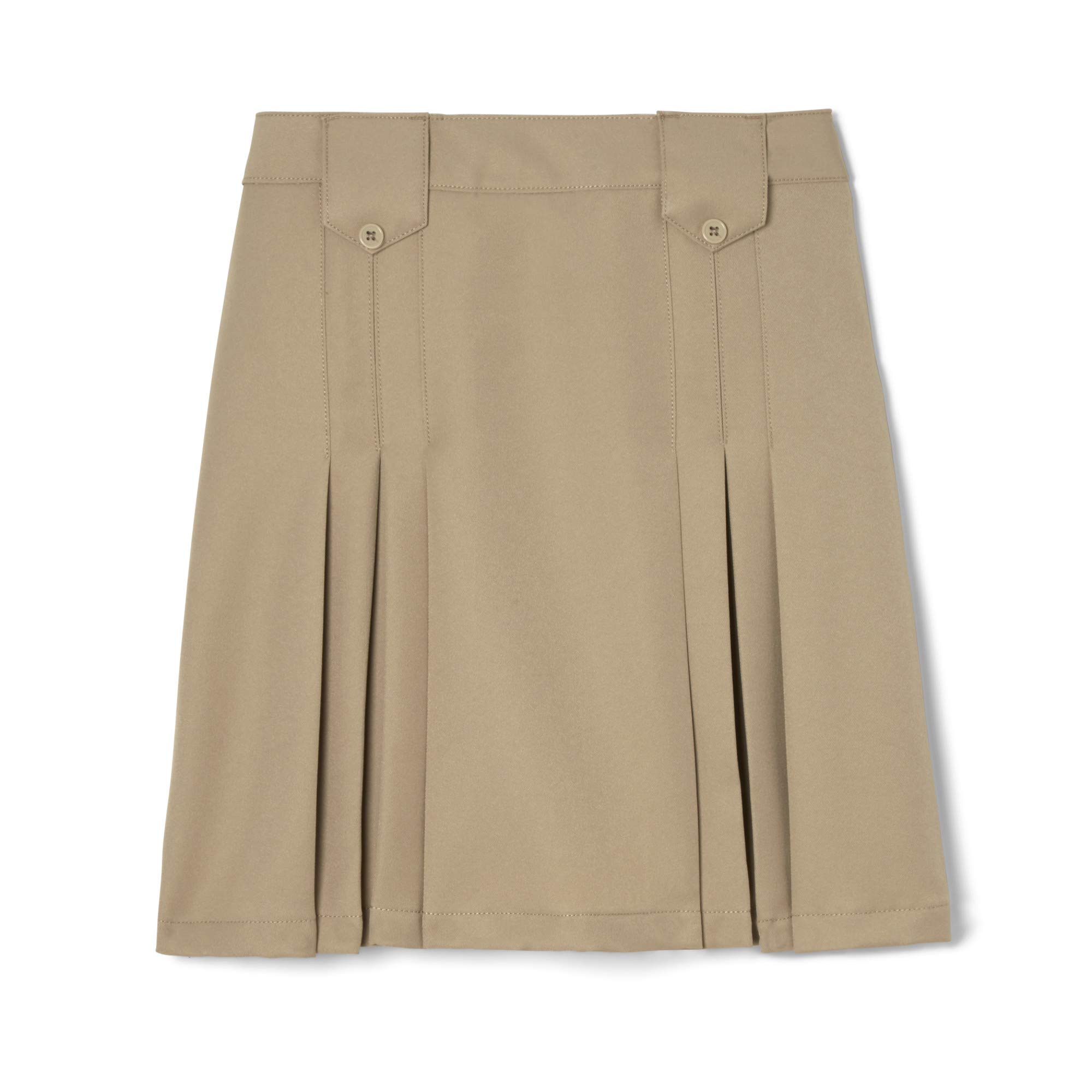 French Toast  Girls' Front Pleated Skirt with Tabs, Khaki, 10,Big Girls by French Toast