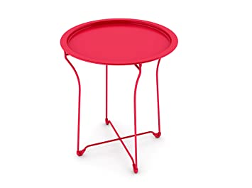 Dar Living Metal Tray Side Table, Red