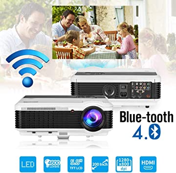 Bluetooth Projector Wireless LED 4600 Lumen Android Bluetooth Proyector Smart Wifi HD WXGA Home Theatre Projectors Airplay Miracast LCD 1080P Android ...