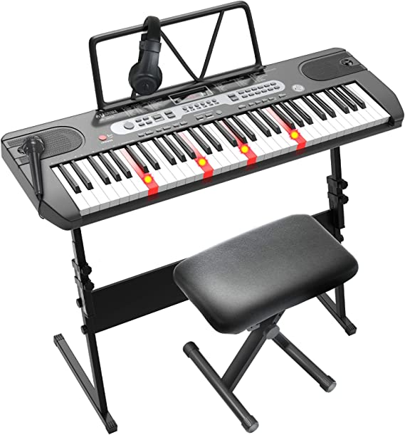 Amazon.com: LAGRIMA LAG-760 61 Key Electric Keyboard Piano with Z Stand,  Light Up Keys for Beginner, Lighted Portable Keyboard w/Bag, Micphone,  Power Supply, Music Stand, Adjustable Stool, Black: Musical Instruments