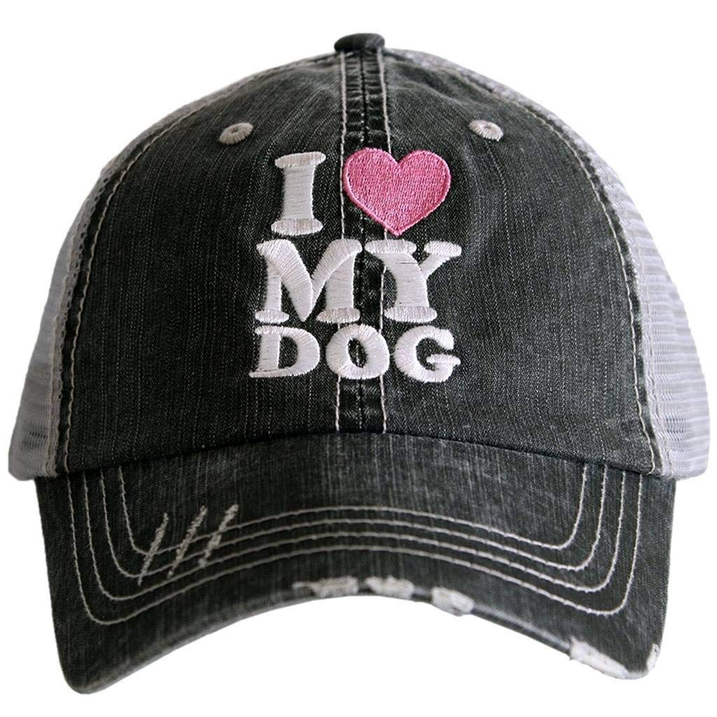 I Love My Dog Women's Distressed Grey Trucker Hat (Pink Heart)