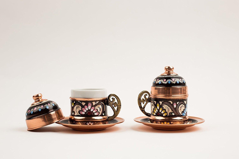 Turkish Traditional Luxury Copper Coffee & Espresso Cup - Mug set of 2