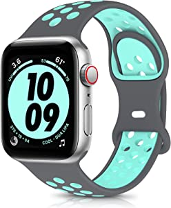 OYODSS Sport Bands Compatible with Apple Watch Band 38mm 40mm 42mm 44mm, Breathable Soft Silicone Replacement Wristband Strap Compatible with iWatch Series 6 5 4 3 2 1 SE Women Men Grey&Teal