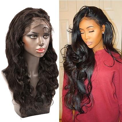 """Bella Hair 18"""" 360 Encaje Peluca Cierre Frontal Densidad 150% Cabello Virgen Humano Cuerpo"""