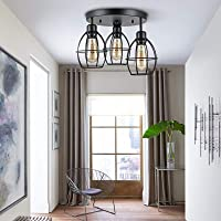 Berkalash Plafondlamp, vintage industrieel design 3 lampen plafondlamp woonkamer lamp slaapkamer lamp keuken kinderkamer…