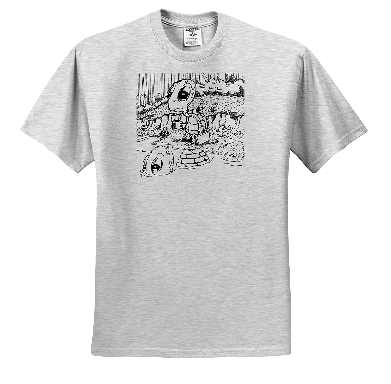 3dRose Travis ECK ts/_317510 Adult T-Shirt XL Turtles Commuting to Work Art