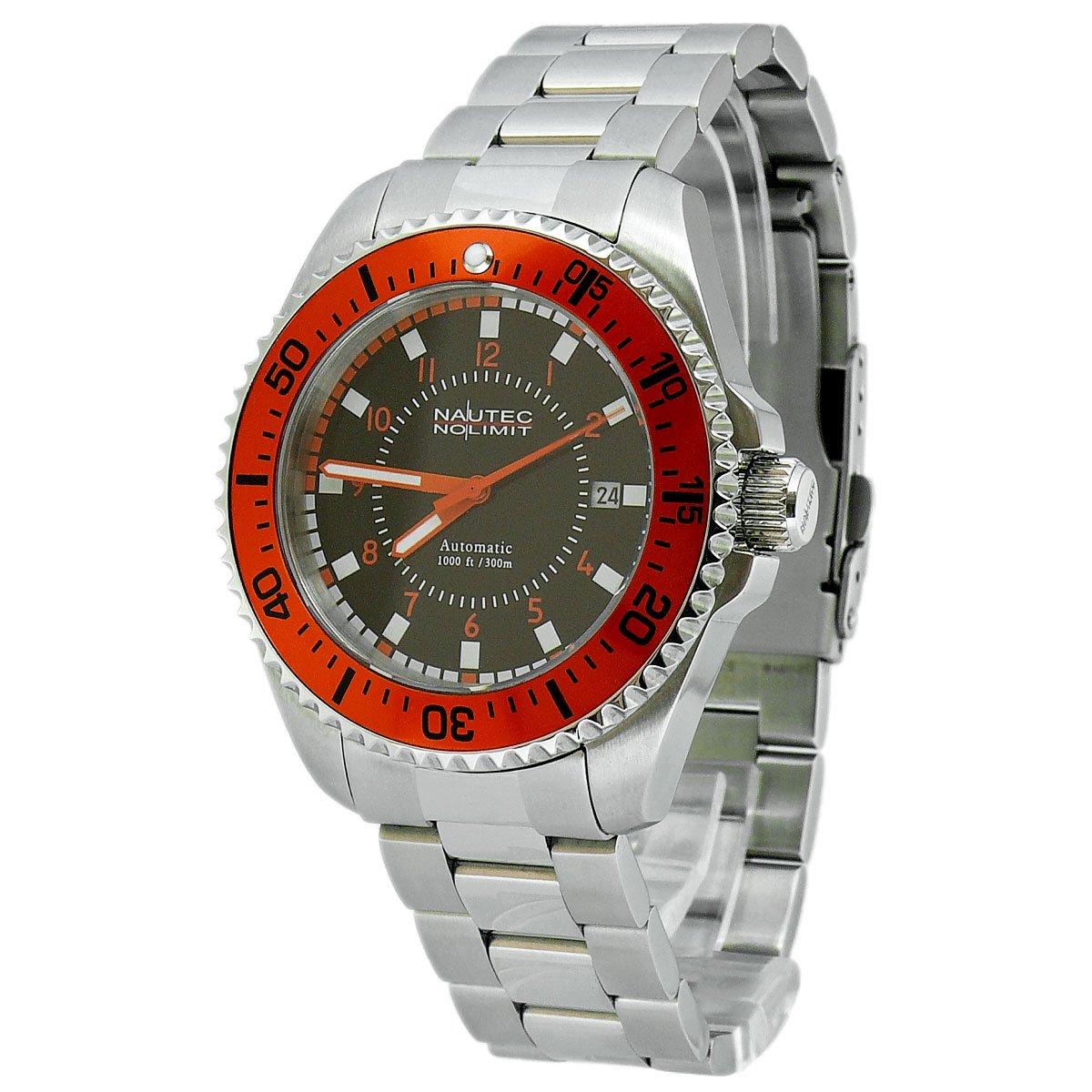 Nautec No Limit Barracuda - Reloj analógico de caballero automático con correa de acero inoxidable plateada