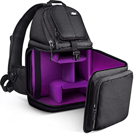 Qipi Camera Bag - Sling Bag Style Camera Case Backpack with Modular Inserts    Waterproof Rain