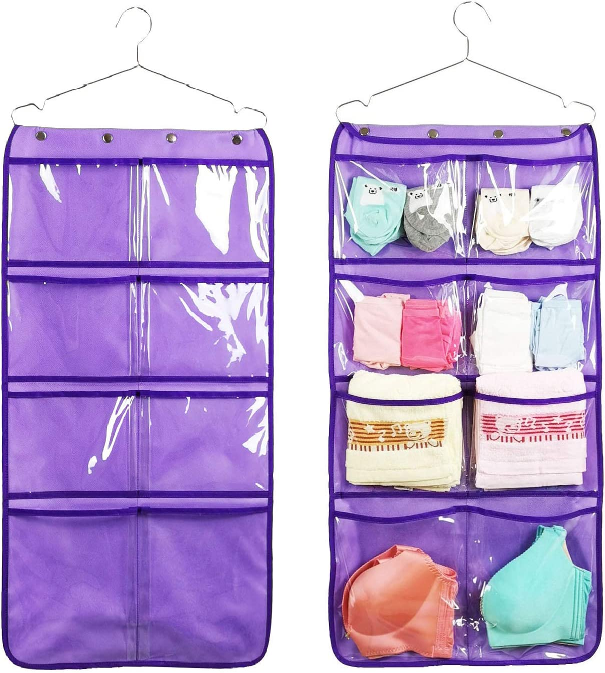 Beige Save Space Hanging Closet WishLotus Hanging Storage Bag Double-sided Reinforced Oxford Cloth 12/&18 30 Compartments Bra Underwear Socks Hanging Storage Organiser for Wall Door Wardrobe