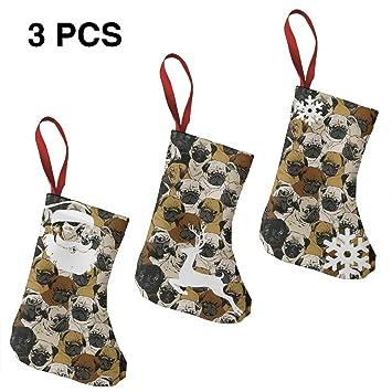 imagen de pug dog and wallpaper christmas stockings gift card bags holdersbulk