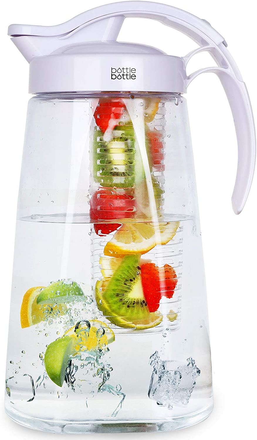 Water Pitcher with Lid and Handle Iced Tea and Fruit Infuser Pitcher Tritan High Heat Resistance Infusion Pitcher for Fridge 2.2L Capacity Perfect for Hot/Cold Water Beverage Sangria and Juice