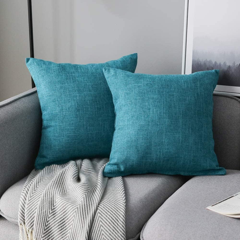 Anickal Set of 2 Lake Blue Pillow Covers Cotton Linen Decorative Square Throw Pillow Covers Cushion Case 20x20 Inch for Farmhouse Sofa Couch Home Decoration