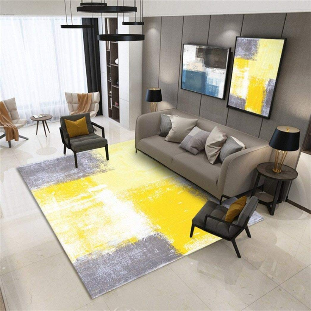 Area Rugs Yellow Gray Color Mixing Carpet Home Floor Mat Tapete Modern Living Room Carpet Amazon Co Uk Kitchen Home