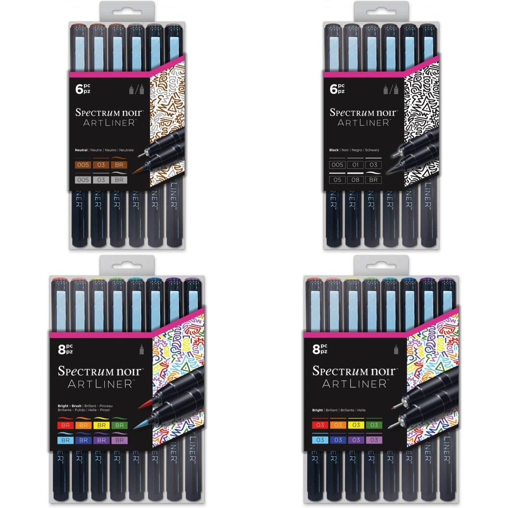 Spectrum Noir Artliner Calligraphy Zentangle Fine Craft Pens Brights 8pk