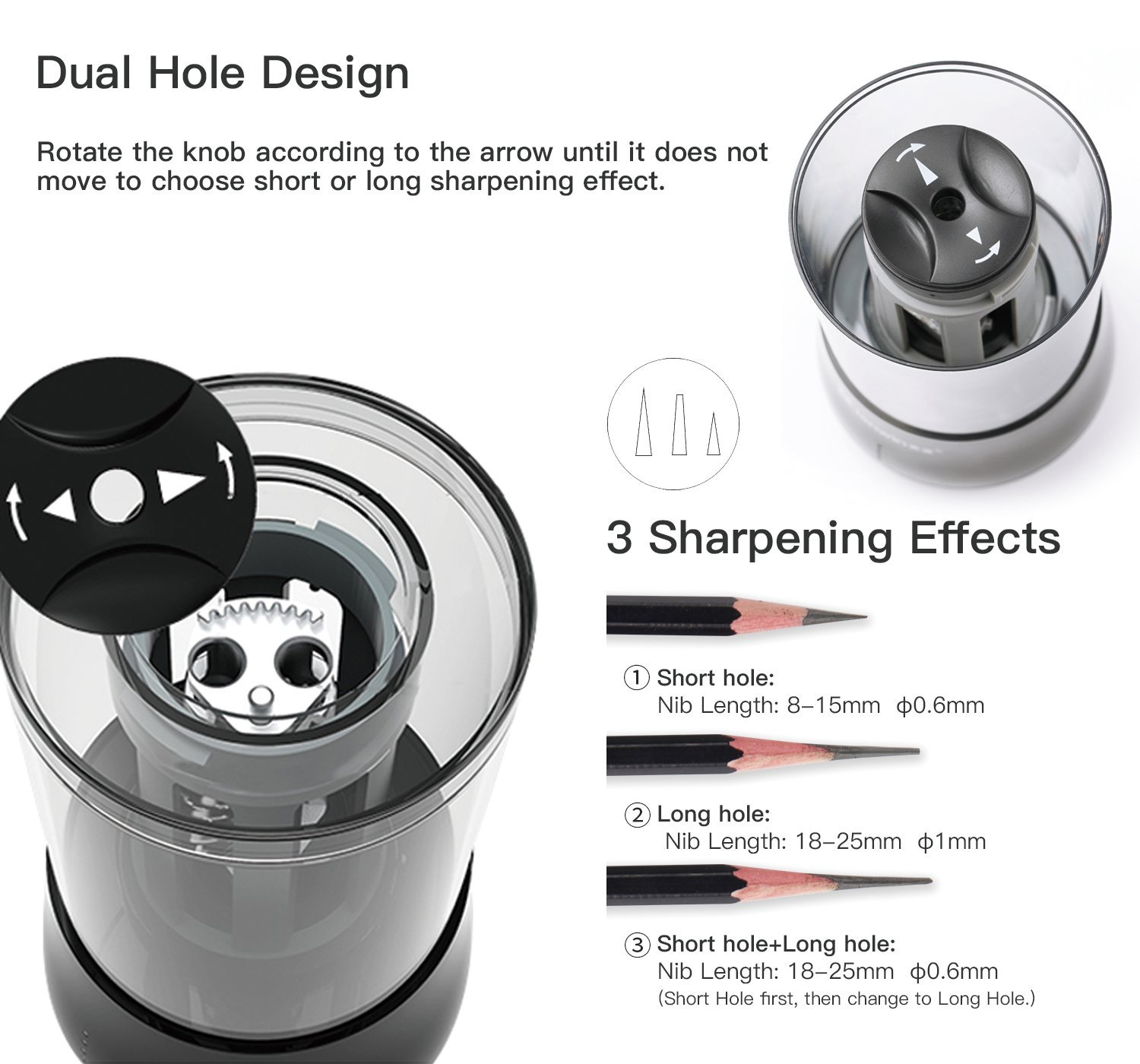 Automatic Pencil Sharpener Portable 4 Free AA Batteries Pencil Sharpener Electric Art Pencil Sharpener Battery Powered White No 2 /& Drawing Pencils Electronic Colored Pencil Sharpeners for Kids