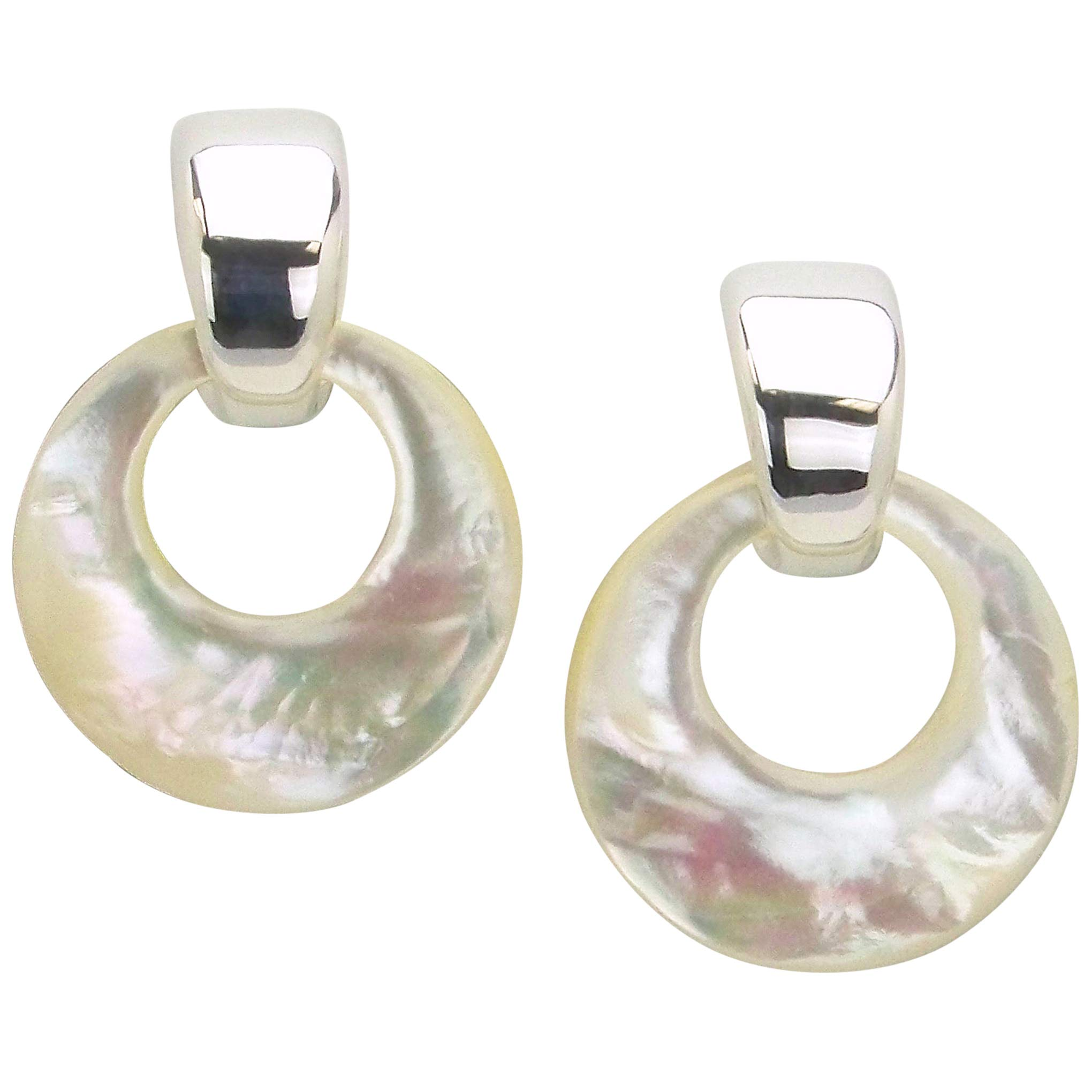 Simon Sebbag Convertible Statement Clip On Earrings in White Shell and Silver
