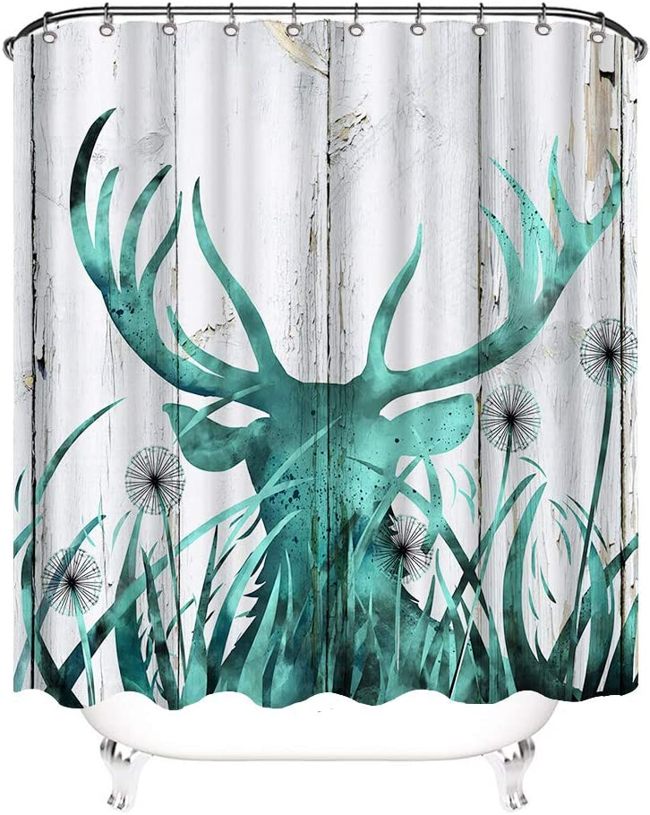 VividHome Rustic Shower Curtain Deer on Wood Background Country House Art Image Print Cloth Fabric Bathroom Decor Set with Hooks Teal Grey 72X72inch