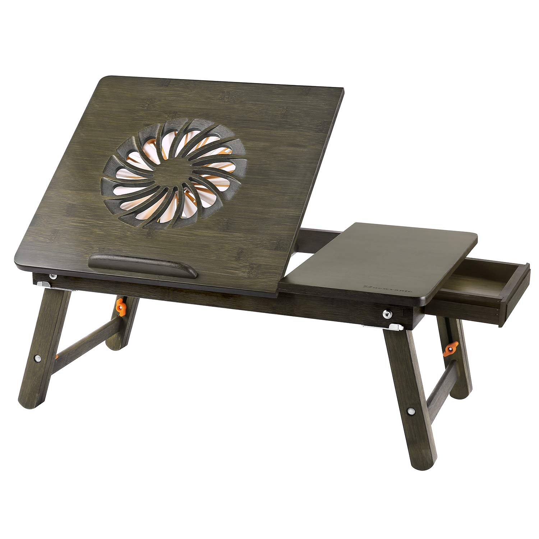 Laptop Desk Nnewvante Adjustable Laptop Desk Table 100% Bamboo with USB Fan Foldable Breakfast Serving Bed Tray w' Drawer-Retro