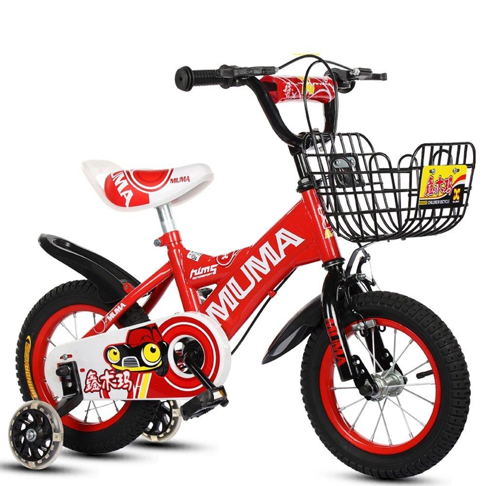 憧れの CHS@ CHS@ 子供の自転車2-4-6歳の6-7-8歳の子供の自転車ベイビーキャリッジの少年少女の自転車フラッシュトレーニングホイール さいず 子ども用自転車 Red (色 : Red, サイズ さいず : 12