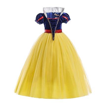 ELSA & ANNA® Princesa Disfraz Traje Parte Las Niñas Vestido (Girls Princess Fancy Dress) ES-SNWYEL04 (3-4 Años, Amarillo)