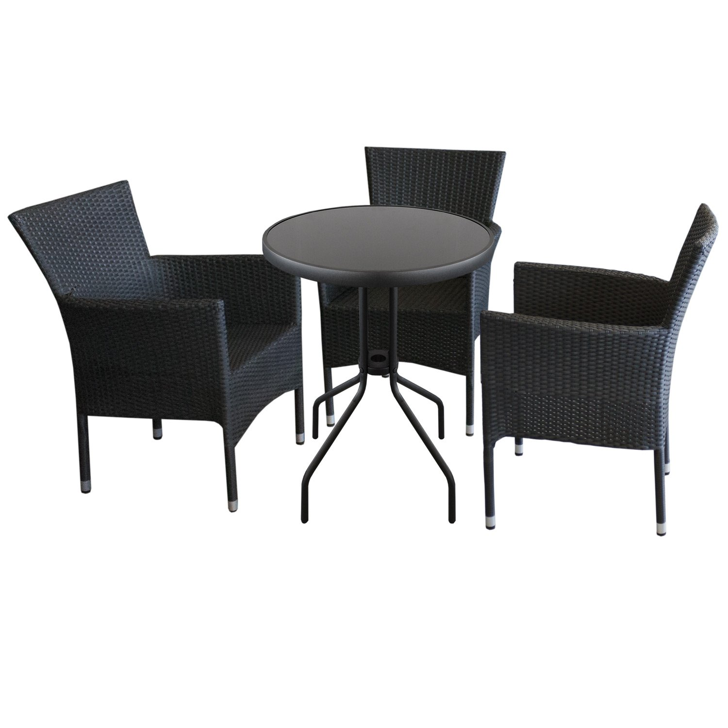 4tlg gartengarnitur balkontisch bistrotisch metall glas 60x71cm 3x stapelbare polyrattan. Black Bedroom Furniture Sets. Home Design Ideas