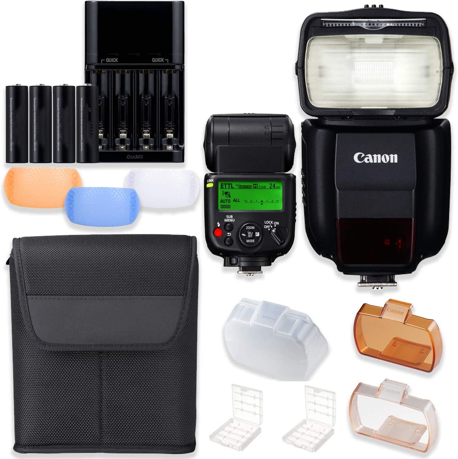 Colored Flash Diffusers 4 AA Batteries with Charger Canon Speedlite 430EX III-RT High Speed Camera Flash with Radio Flash Capabilities Speedlite Case
