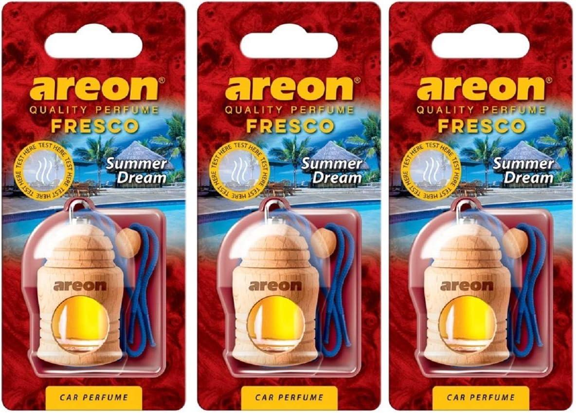 AREON Fresco Ambientador Sueño de Verano Coche Olor Colgante Azul (Pack de 3)