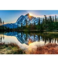Kampo DIY Paint By Numbers for Kids Adults,Canvas DIY Oil Painting Kit with Brushes and Acrylic Pigment for Home Decoration,16 x 20 inch (Silent Mountain Lake)