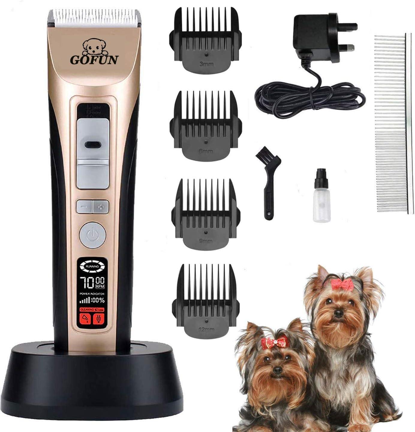 GOFUN Cortapelos para perros, 5 velocidades, kit de recortadora de pelo de mascotas, sin cables, de bajo ruido, para perros, gatos, caballos
